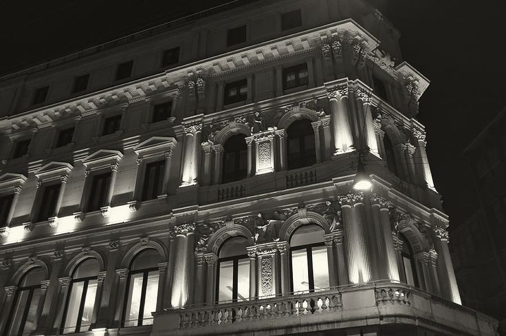 Lightime, a black and white photograph of a building in central Milan- Lightime #photo on Pinterest