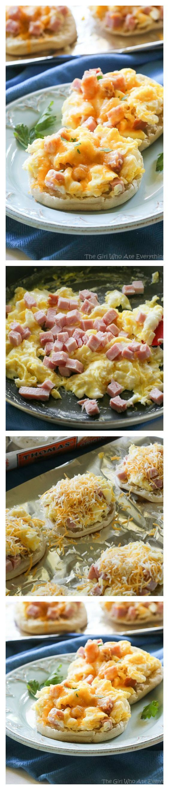 Breakfast Pizzas - toasty English muffins topped with scrambled eggs, ham, and melted cheese