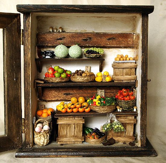 Vintage Small old Shop No.2 Fruit and Vegetable por DollhouseAra, $295.00