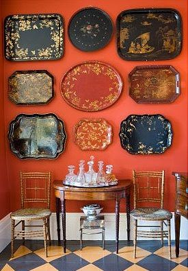 I'm not sure what I like more... the trays? the decanters? the wall color? the floor? *happy sigh*