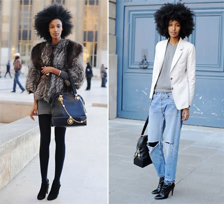 The Mix  Julia Sarr-Jamois, the new fashion editor of Wonderland and perhaps PFW star (in-the-making?) My favorite thing about all these pics is that some of her style-staples keep making re-appearances.... trusty jean jacket, fur vest, silver booties, vintage Versace bag. If someone photographed you for a week - what would your style staples be? Mine: Combat boots, BFF's vintage jean jacket, A-Wang Brenda bag, Martin Margiela coat, P. Schouler grey lace-up booties. It's the mix!