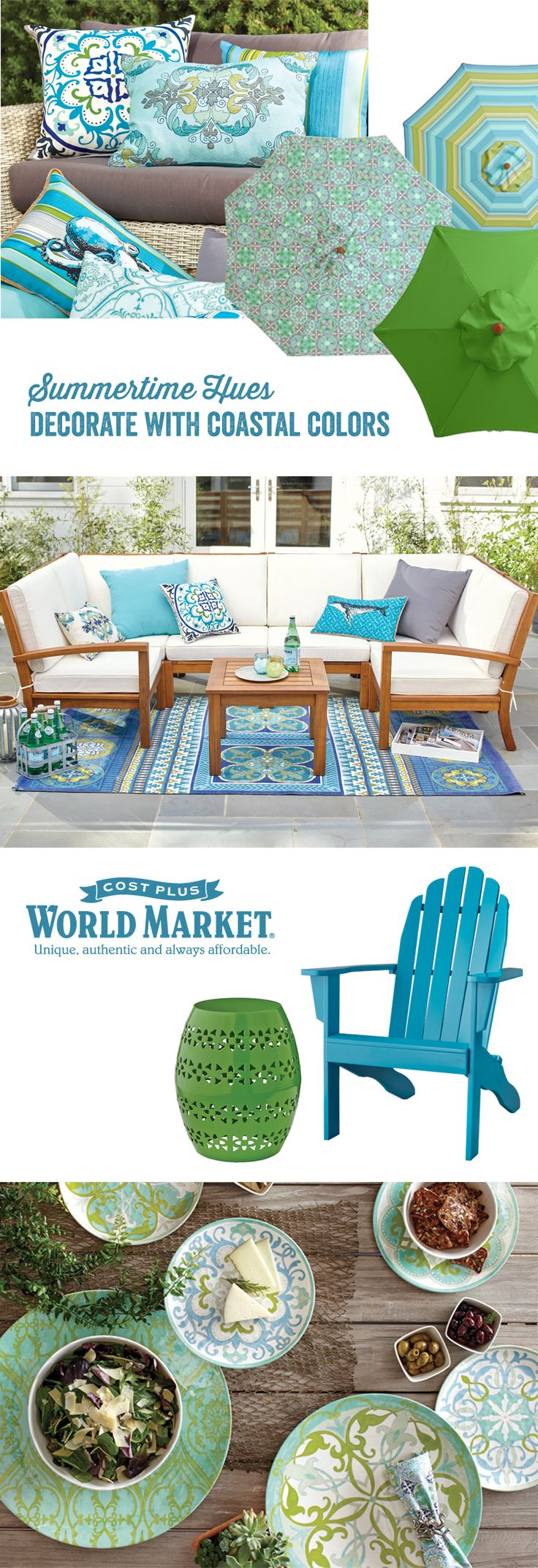 With our Seaside Modern Collection it's easy and affordable to create your own outdoor oasis surrounded by the calming colors of the deep blue sea. #WorldMarket #CelebrateOutodoors