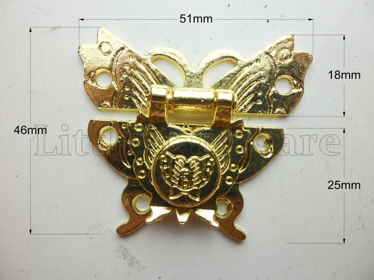 "High quality golden ""butterfly"" lock latch small box hardware jewelry box latch gift boxes latches chest hardware - LC0114 by LittleHardware on Etsy"