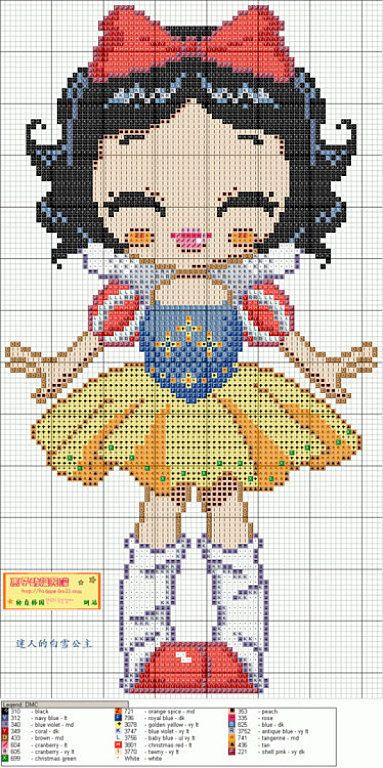 Cute Snow White Hama Perler Bead Pattern or Cross Stitch Chart