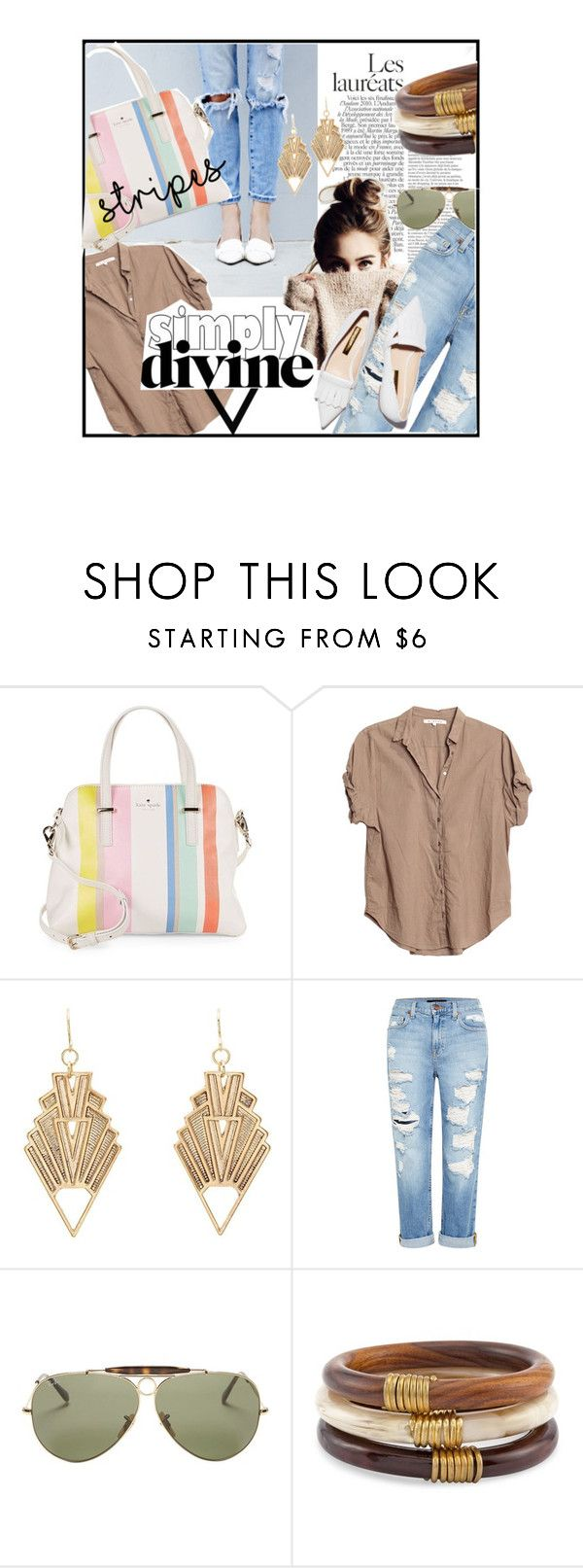 """Spring Basics"" by fashion-mama-aquarius on Polyvore featuring Kate Spade, Xirena, Charlotte Russe, Genetic Denim, Rupert Sanderson, Ray-Ban, Chico's and styleset"