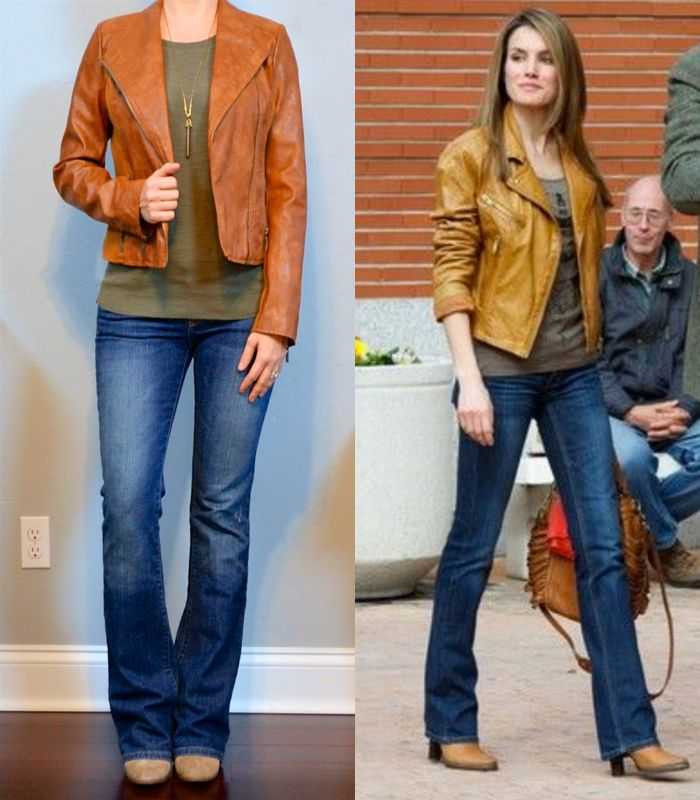 outfit post: leather jacket, green t-shirt, bootcut jeans, ankle boots