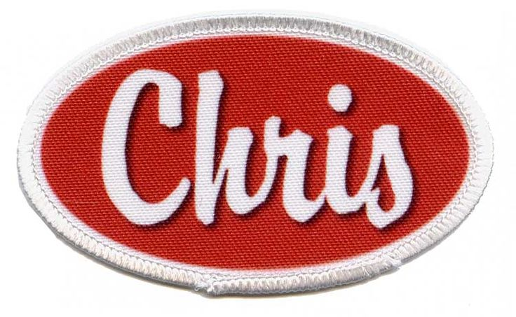 I love the oval look in this name patch and the colored center. The patch also looks like it'd be easy to attach to any shirt. This would be a great patch for names at a family reunion.