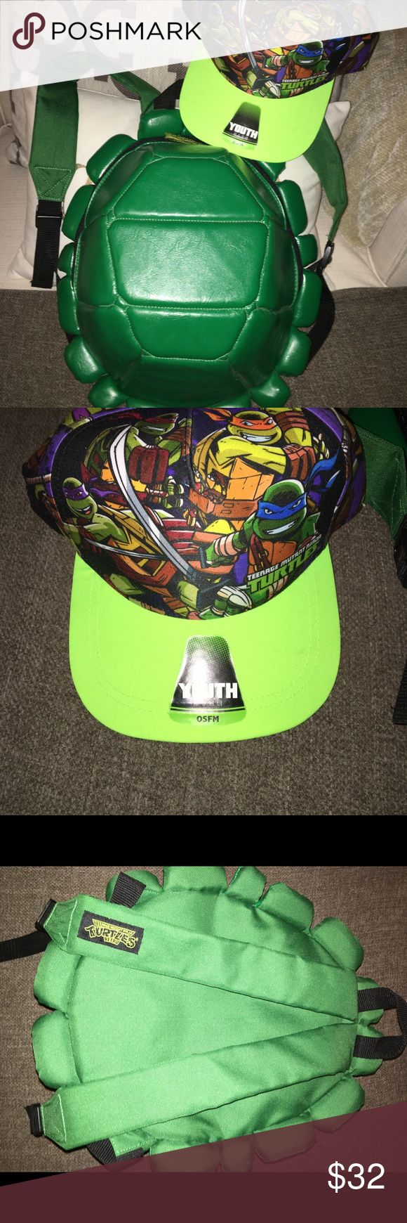 TMNT - Teenage Mutant Ninja Turtles bundle Youth size turtle shell backpack & SnapBack hat (One size FM) See pics for current selling price Nickelodeon Accessories Bags