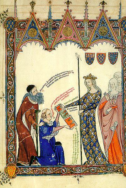 Les dotze miniatures lul·lianes del Breviculum. 12. Tomàs Le Myésier presenta a la reina de França les seves compilacions lul·lianes, acompanyat per Llull. Breviculum, 1307 -- or 1321?. Electorium parvum seu Breviculum: la vida de Ramon Llull en 12 miniatures.