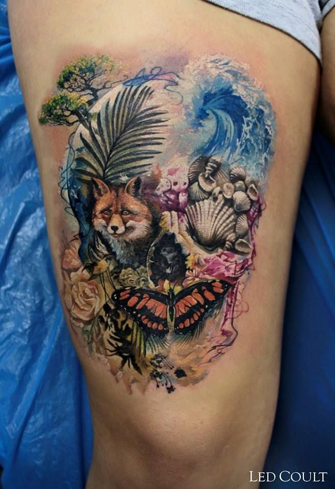 Watercolor, fantasy, animated skull #tattoo Artist: Led Coult www.tattooinkstore.com
