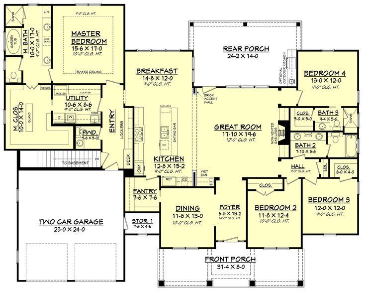 25+ best four bedroom house plans ideas on pinterest | one floor