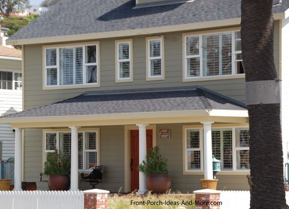 shingled hip roof style over front porch