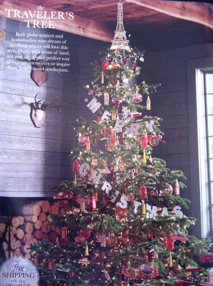 Amazing Travel Themed Christmas Tree From The Pottery Barn