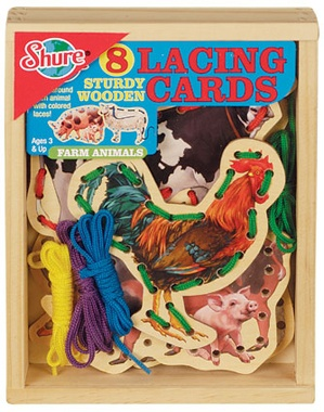Farm Animals Wooden  Lacing Card Activity Set by shureproducts.com