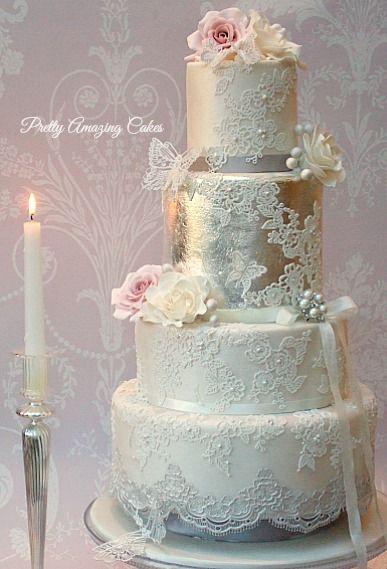 Beautiful edible silver leaf wedding cakes by www.prettyamazingcakes.co.uk