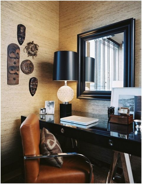 A corner office nook that is sophisticated yet inviting