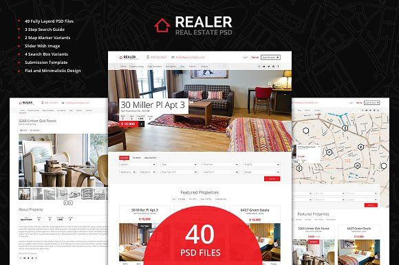 Realer - Real Estate PSD Template by Ondrej Lechan on @creativemarket