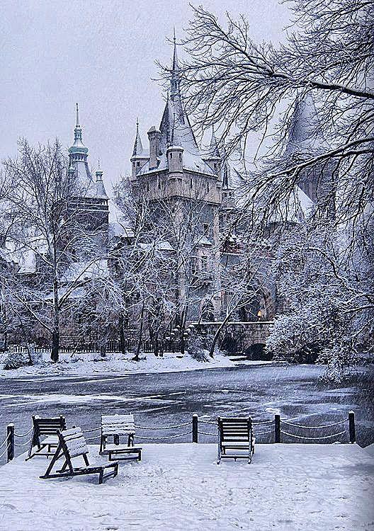 Castle of Vajdahunyad in Budapest, Hungary at winter