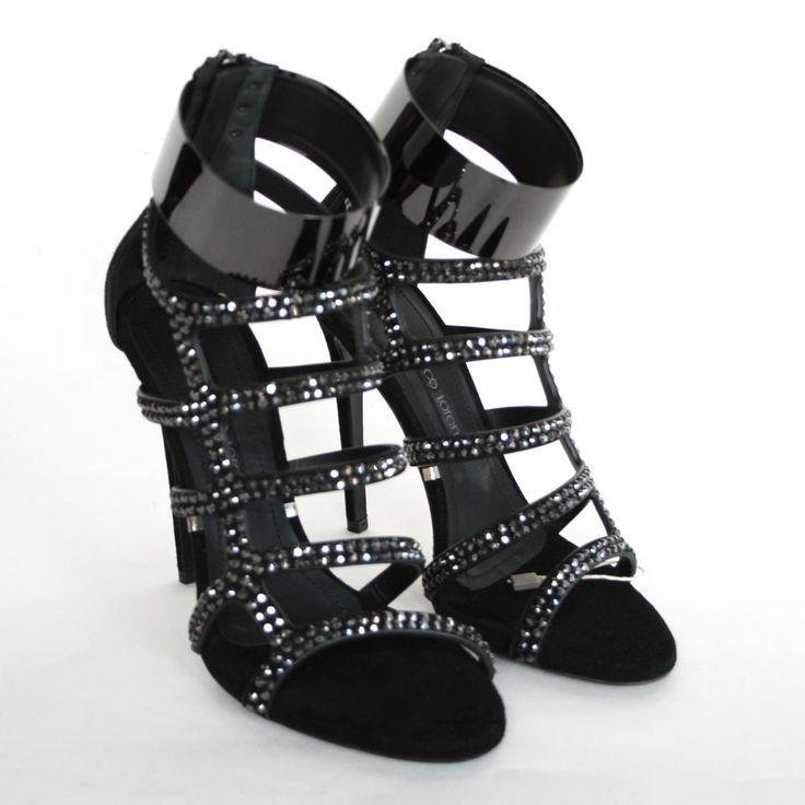 GIANMARCO LORENZI black metal cuff sandals Swarovski crystal pump shoes 37.5 NEW #GianmarcoLorenzi #Pumps #swarovski #crystalshoes #metalcuff #highheels