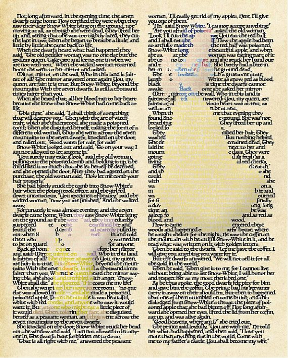 Framed wall art on 60 lb cardstock of Disneys Princess Snow White made up of text. Text is an excerpt from the original story of Snow White & the Seven Dwarves Comes in 8x10 and 10x13 very sturdy black frame with hangings pre-attached. Frame is as pictured above for both sizes. A
