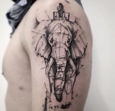 tatuajes de elefantes para hombres pincelado