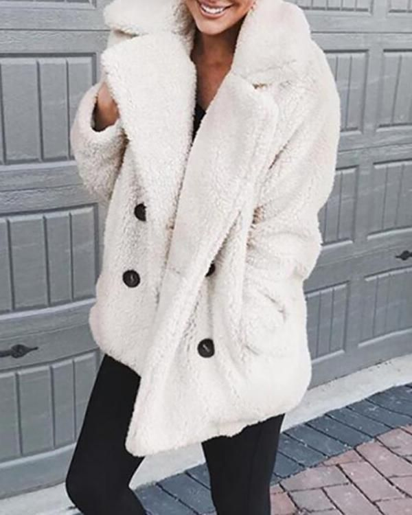 Shawl Collar Long Sleeve Buttoned Solid Winter Teddy Bear Coat ... 5e8999dfd