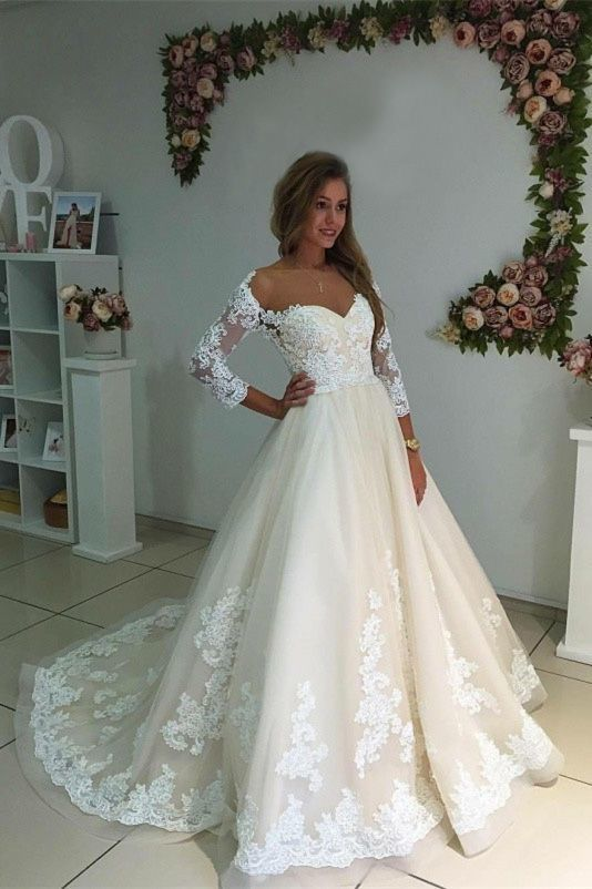 aab302faaea66 A-Line Off-the-Shoulder Long Sleeves Ivory Tulle Wedding Dress with  Appliques