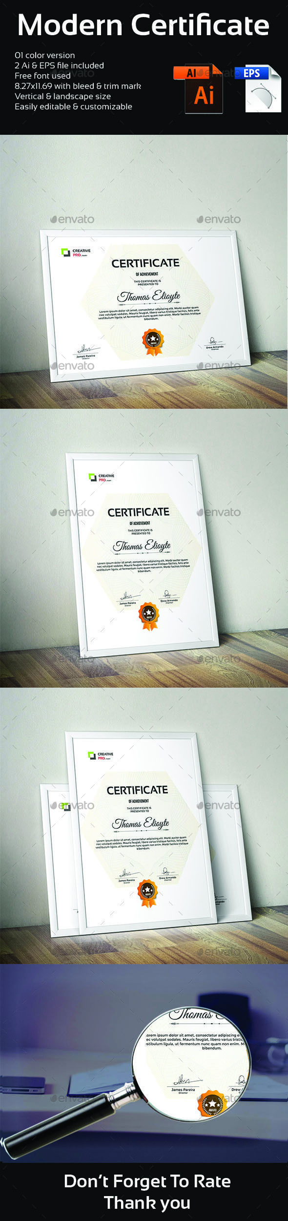 Corporate Simple Certificate Design Template - Certificates Stationery Design Template Vector EPS, AI Illustrator. Download here: https://graphicriver.net/item/certificate-template/19213430?ref=yinkira