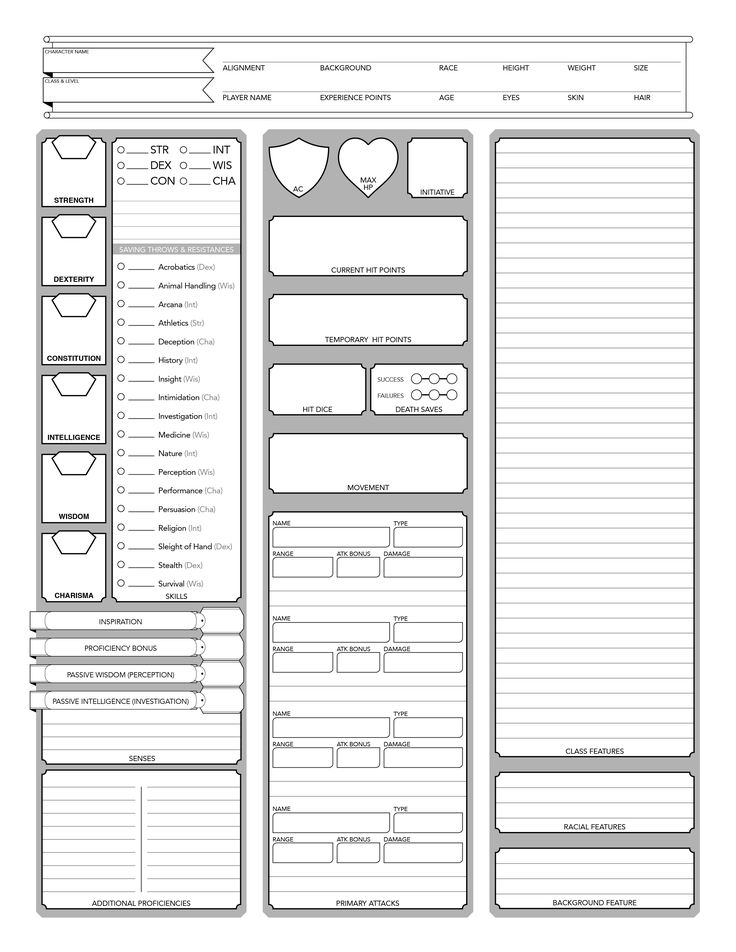 Bewitching image within dnd 5e printable character sheet