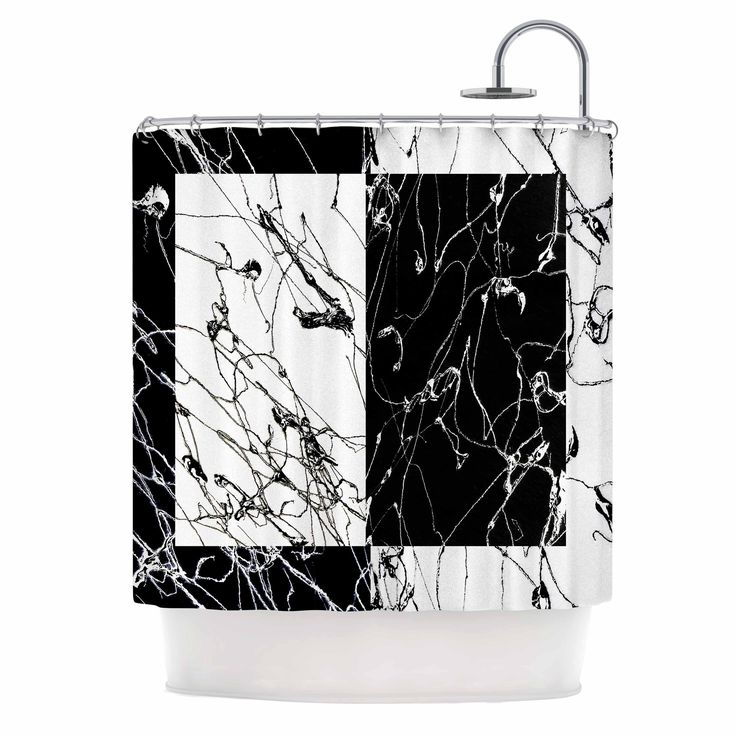 "Nina May ""Neutra Splatter"" Black White Mixed Media Shower Curtain - KESS InHouse"