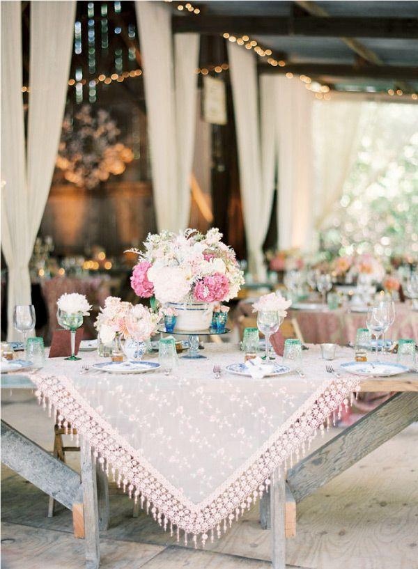 barn-wedding-12: Table Settings, Tablesettings, Tablecloth, Wedding Ideas, Event, Weddings, Tablescape
