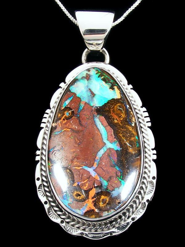 Native American Indian Jewelry Koroit Boulder Opal Pendant