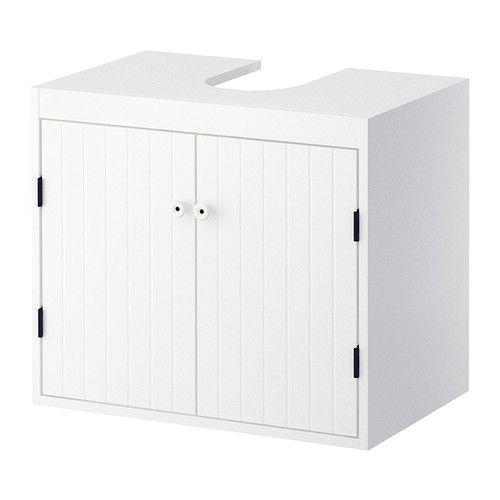 SILVERÅN wastafelkast met 2 deuren, te complementeren met de ovalen HÖLLVIKEN wastafel. En, heel belangrijk, één voor hem en één voor haar. De basis voor een mopperloos ochtendritueel #IKEAcatalogus