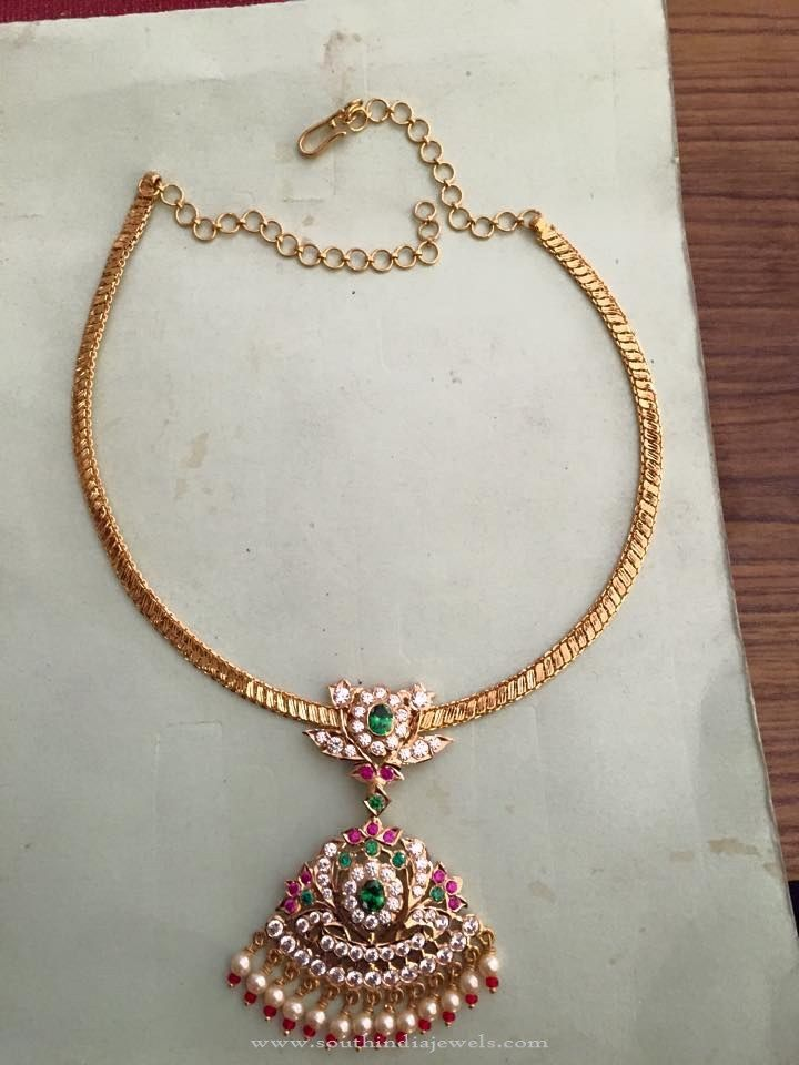 Traditional Light Weight Gold Attigai Gold Necklace