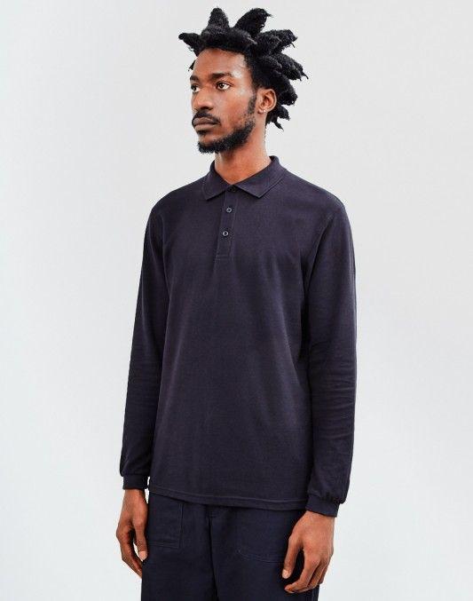 The Idle Man Long Sleeve Polo Shirt Black   #StyleMadeEasy