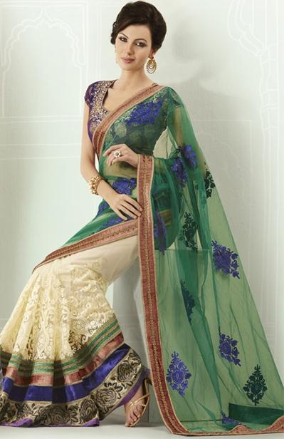 $121.48 Green and White Embroidery Half Designer Saree 22785