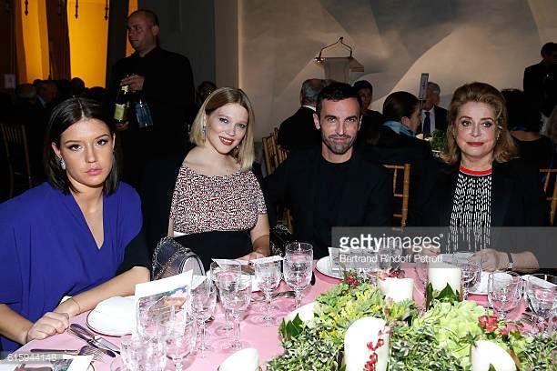 Actresses Adele Exarchopoulos Lea Seydoux Stylist Nicolas Ghesquiere and Actress Catherine Deneuve attend the 'Icones de l'Art Moderne La Collection...