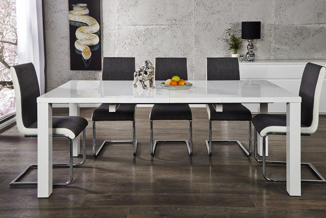 Design Esstisch LUCENTE weiss hochglanz 120 - 200cm ausziehbar Tisch  --   Riess-Ambiente.de
