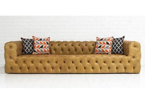 Mod Shop Palm Beach Tufted Sofa In Caramel Leather.