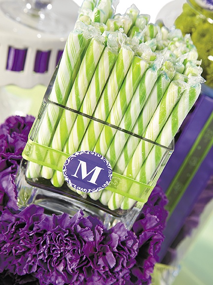 Color coordinate your candy buffet with trendy candy sticks.