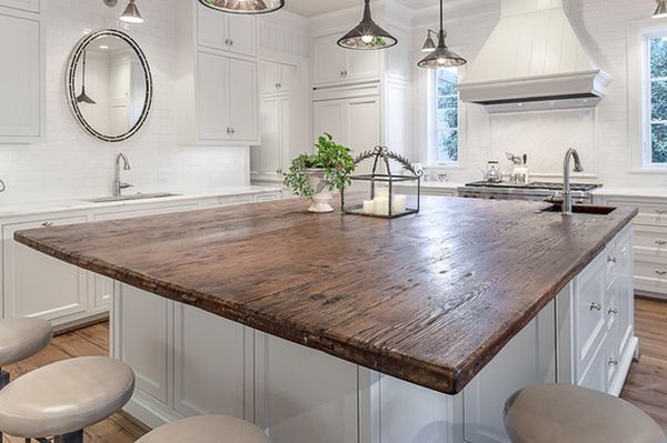 20 Unique Countertops Guaranteed To Make Your Kitchen Stand Out. Reclaimed wood on Island