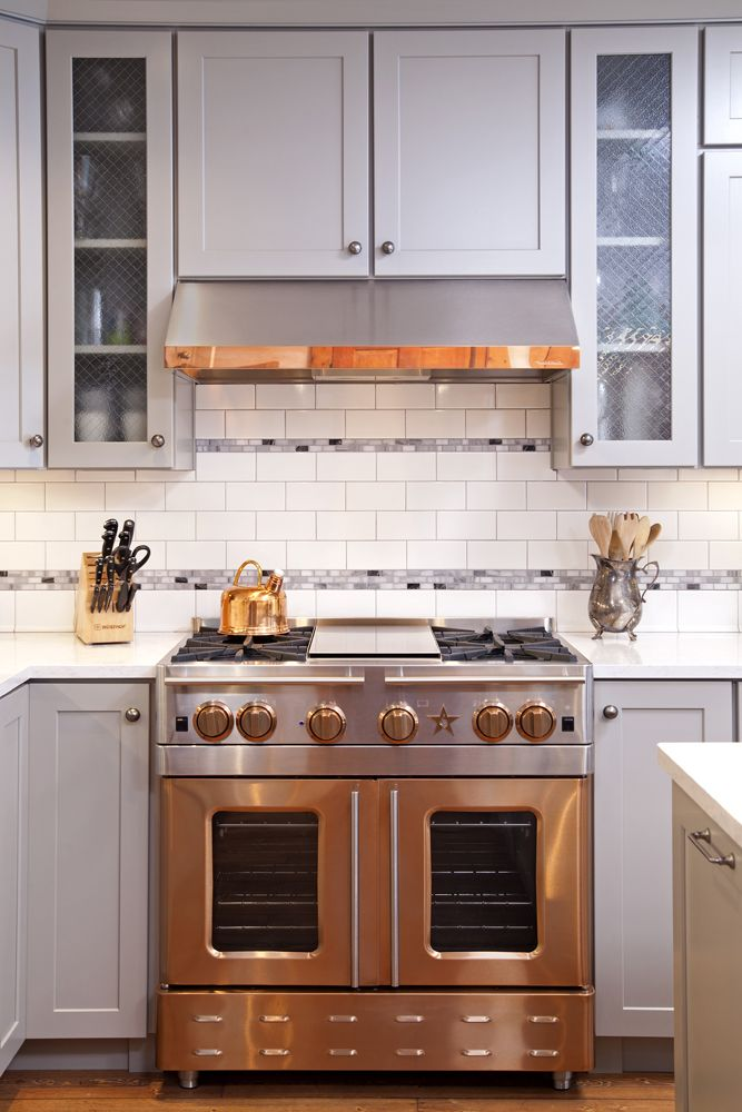 Great And Copper Kitchen! BlueStar Precious Metals Copper Range In A  Country Chic Kitchen