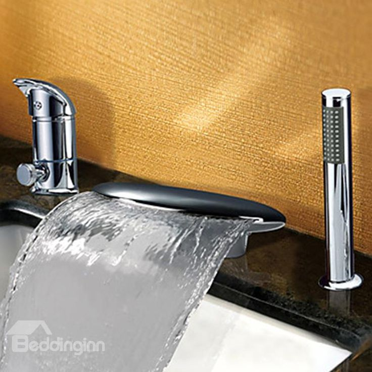 Fancy Contemporary Widespread Waterfall Two Handles Bathtub Faucet On Retail Price Faucets