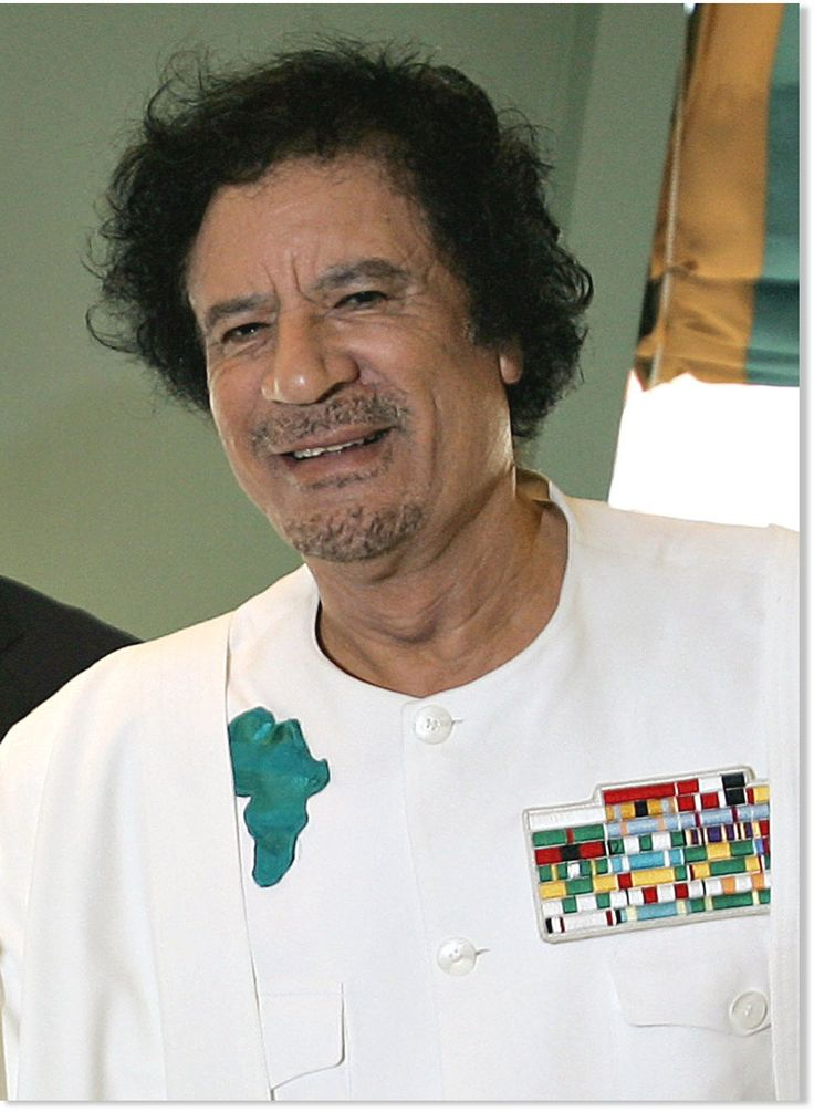 Muammar al Gaddafi, Revolutionary Chairman of the Libyan Arab Republic from 1969 to 1977, Brotherly Leader and Guide of the Great Socialist People's Libyan Arab Jamahiriya from 1977-2011, King of Kings of All Africa from 2008-2011. Assassinated by the Western Horde October 20th 2011. RIP
