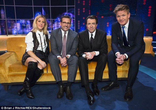 Full house: Actor Steve Carell, (second from left) who joined Goulding on the Jonathan Ros...