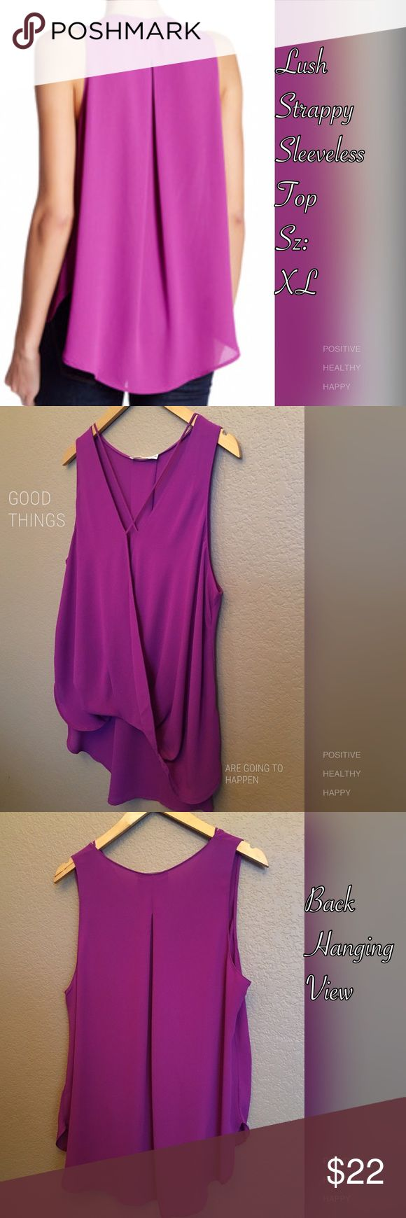 NWOT Sleeveless Hi-Lo Top 40% off closet sale Purple sleeveless surplus neck with strappy detail. Classy surplus styling  with an elegant draped front and on-trend hi-lo hem. Fold over front hem construction. Pretty back side with inverted pleat detail.  100% polyester. Bright fun summer color.  40% off closet sale! Item is New without tags. Lush Tops