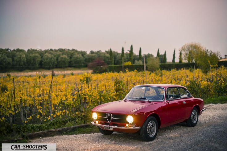 Alfa Romeo Giulia GT Junior tre quarti anteriore con sfondo su vigna autunnale