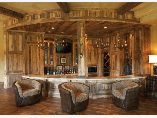 Interior Design, Rustic Home Bar Design Made From Wood Material With Unique  Seating: Fantastic Home Bar Design Ideas In Modern Style