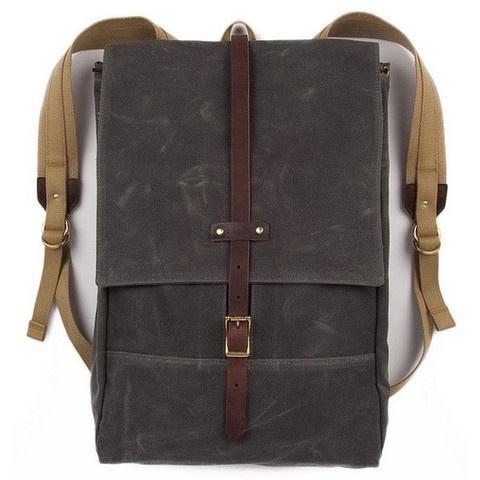 Gray waxed rucksack | Izola