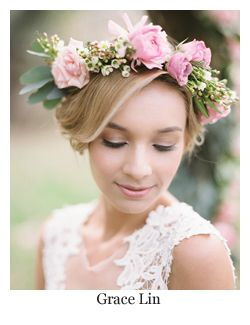 Wedding Hairstyles with Flowers ~ Updo with flower hair wreath by Grace Lin
